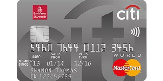 Emirates Citibank Word Credit Card